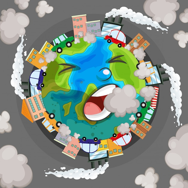 Sick earth from pollution concept Free Vector