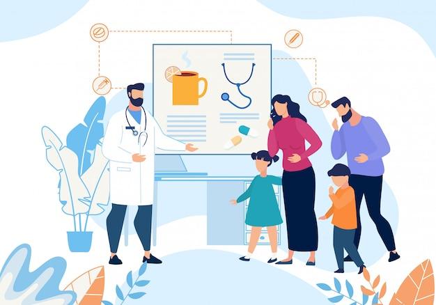 咳の訪問医師漫画と病気の家族 Premiumベクター