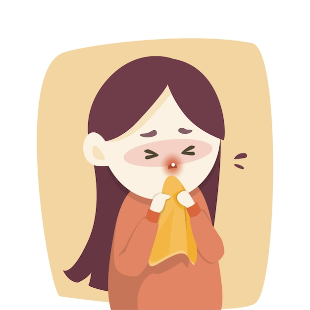 Sick girl has runny nose Vector | Premium Download