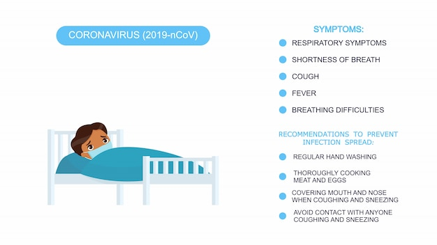 Sick little boy with medical mask in a hospital bed. infographics list of recommendations for protection against coronavirus, symptoms of coronavirus. vector illustration on a white background. Free Vector