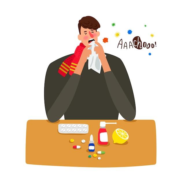 Больной человек чихает с гриппом на белом Premium векторы