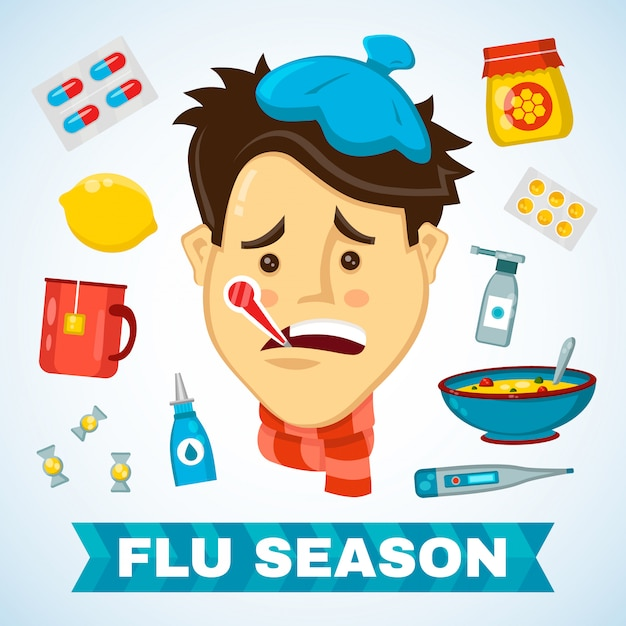 Sick man with thermometer in his mouth  flat illustration sickness character. flat isolated icon set of cold, sickness, pain and flu season items. icon for infographic. winter,scarf,bad feeling Premium Vector
