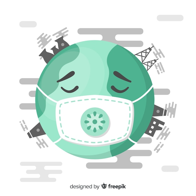 Sick planet with industries and fumes Free Vector