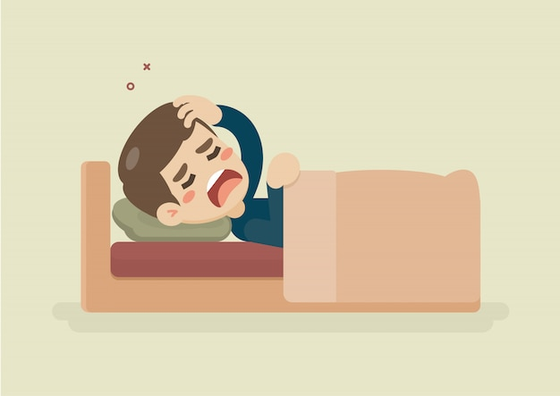 Sick young man suffering from a headache lying in bed Premium Vector