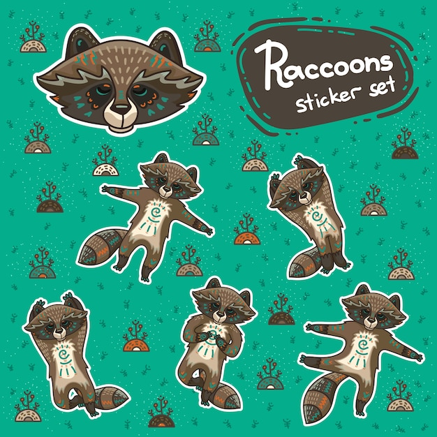Sickers with tribal racoons doing yoga position. Premium Vector