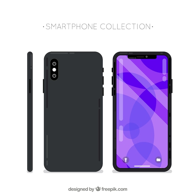 Side, front and back of mobile phone Free Vector