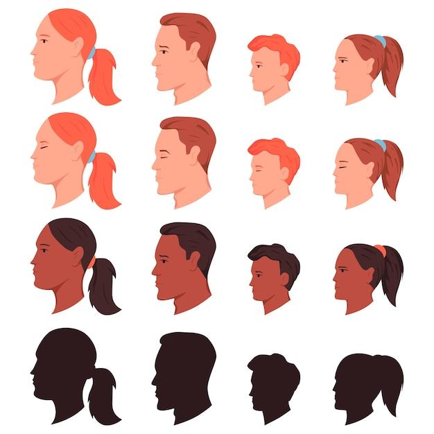 Боковой профиль человеческих голов мультяшный набор, изолированные на белом фоне. Premium векторы