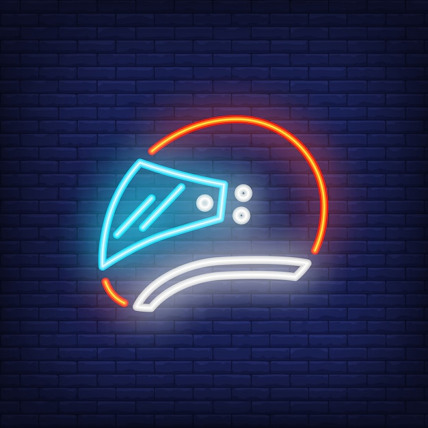Side view of biker helmet on brick background. neon style Free Vector