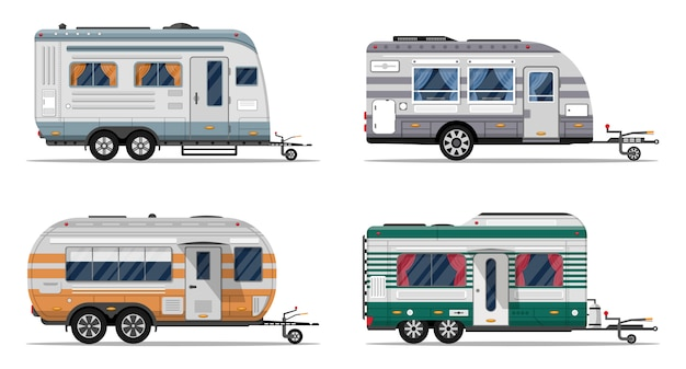 Side view camping trailers isolated on white Premium Vector