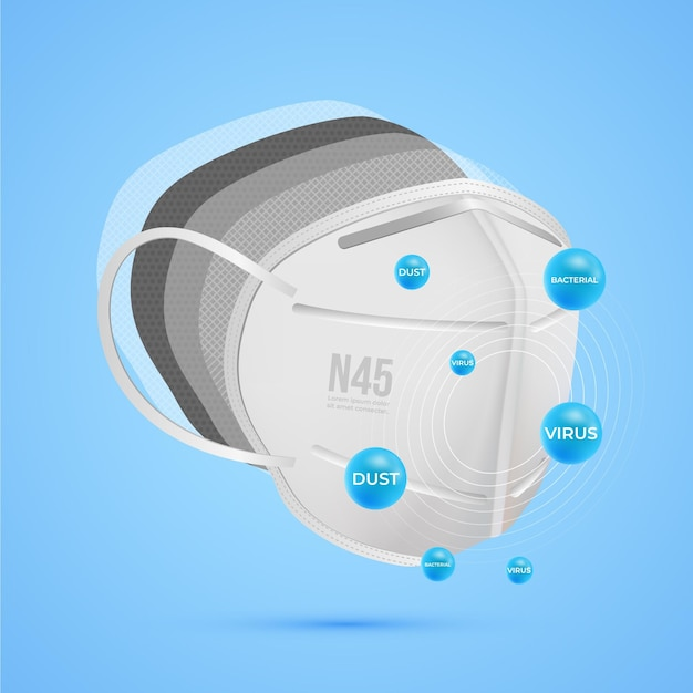 Side view layered n95 surgical mask Free Vector
