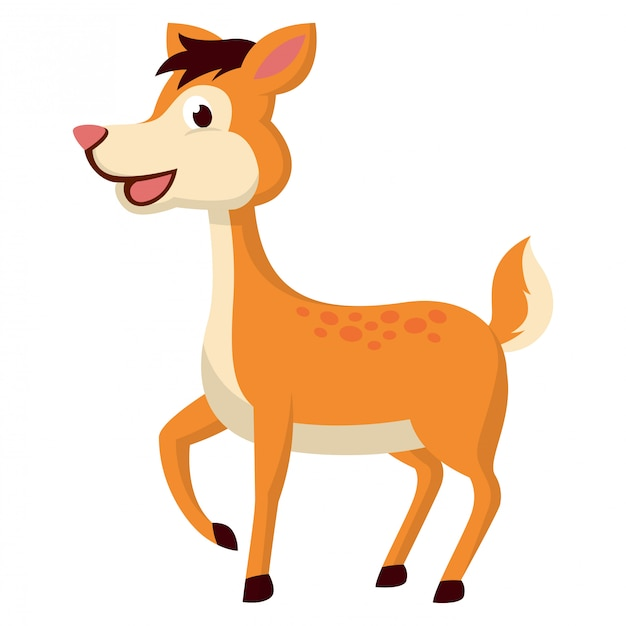Side view of mouse deer with white background Premium Vector