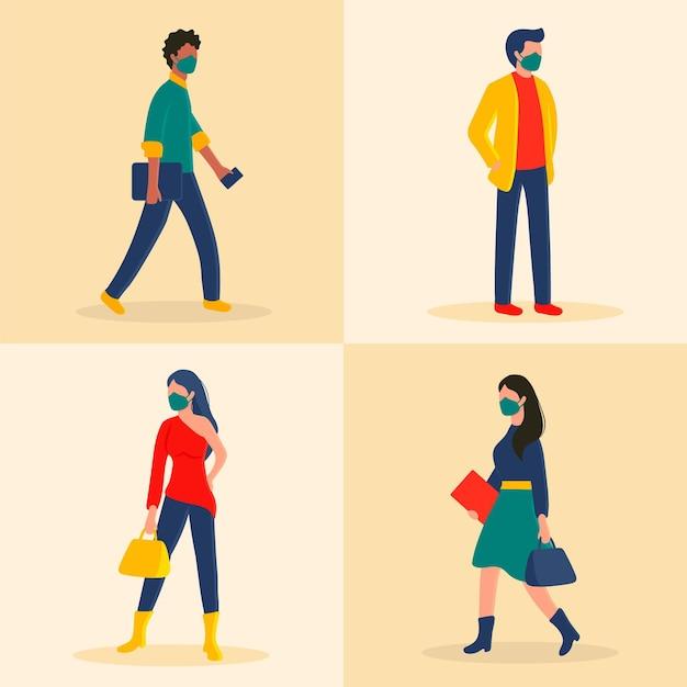 Вид сбоку люди возвращаются на работу в масках для лица Бесплатные векторы