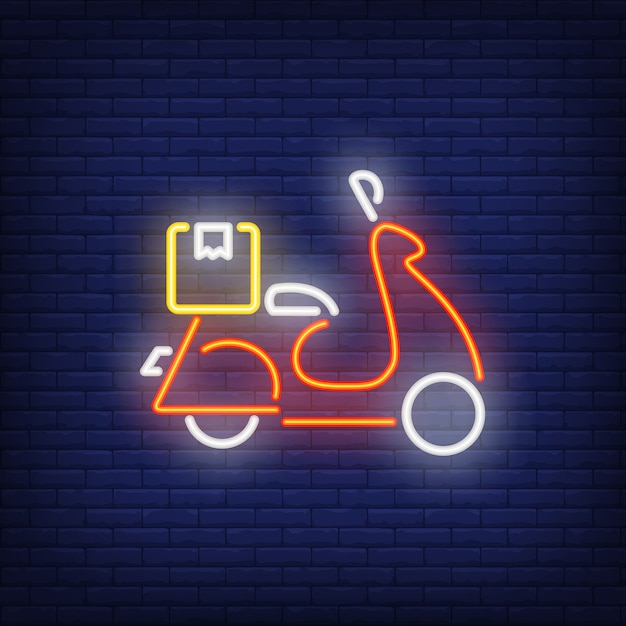 Side view of scooter on brick background. neon style Free Vector