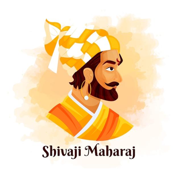 Vista laterale shivaji maharaj illustrato Vettore gratuito