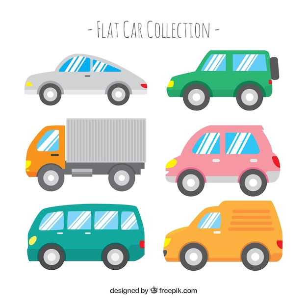 Side view of six cars with shiny windows Free Vector