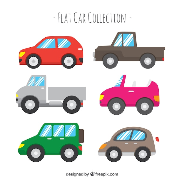 Side view of six simple flat cars Free Vector