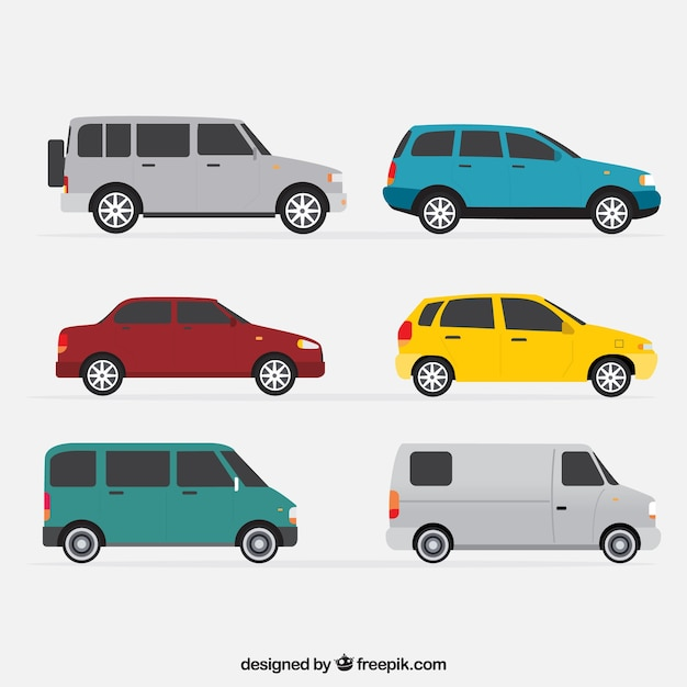 Side view of six vehicles in flat design Free Vector