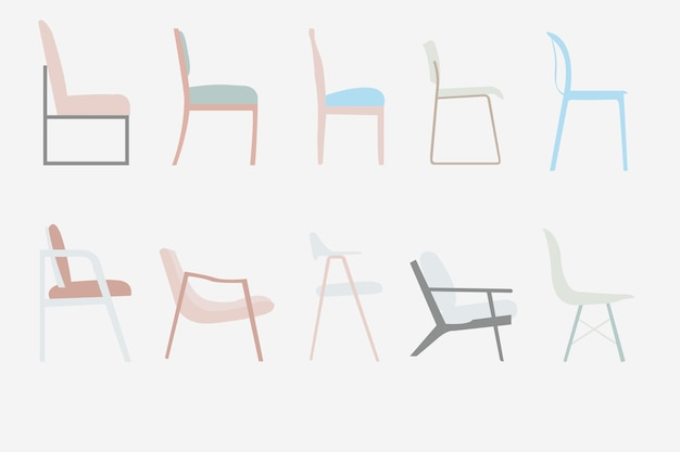 Side view office set Waiting Room Demo 24 Freepik Side View Style Chairs Vector Office Furniture Design Set Vector