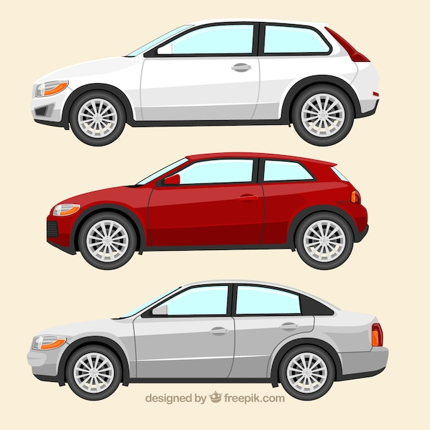 Side view of three european cars Free Vector