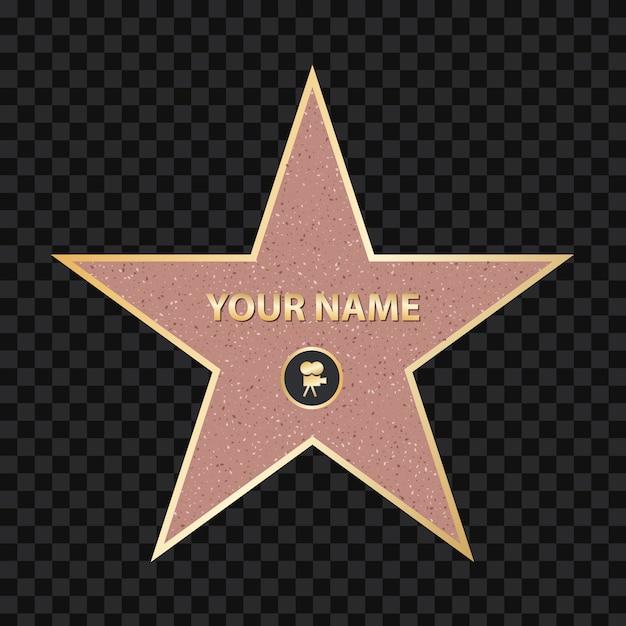 Sidewalk famous actor star. hollywood walk of fame Premium Vector