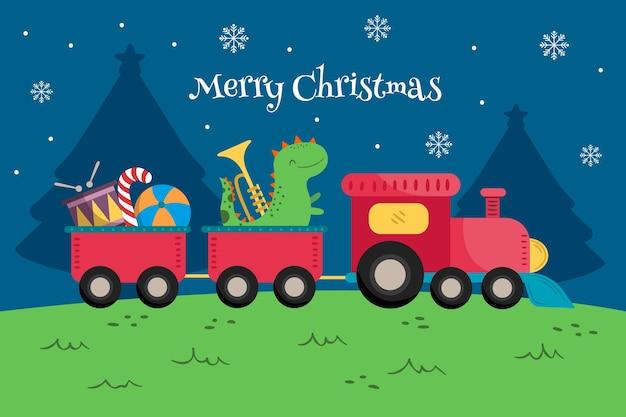 Sideways toy train with dinosaur Free Vector
