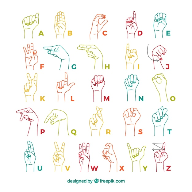 Sign language alphabet in hand drawn style Free Vector