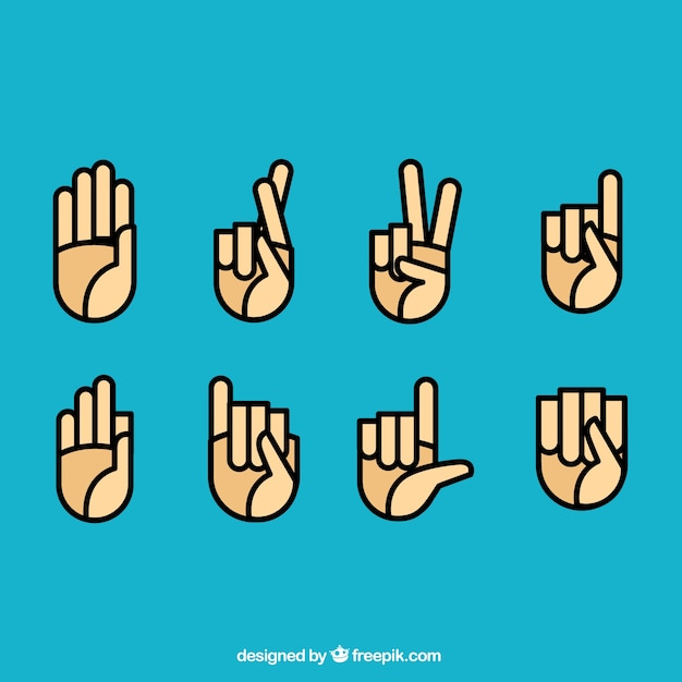 Sign language icons Free Vector