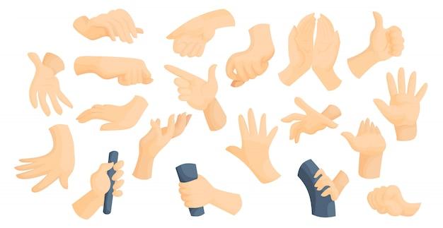 Sign language idea flat hands gestures vector illustration set Premium Vector