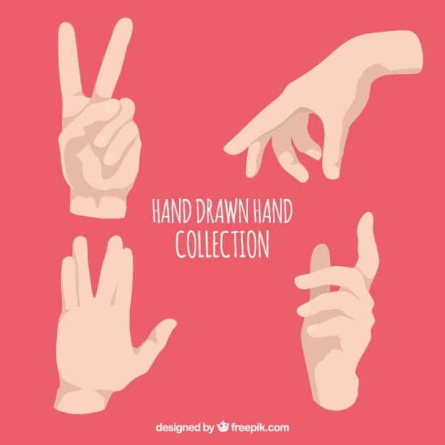 Sign language in realistic style Free Vector