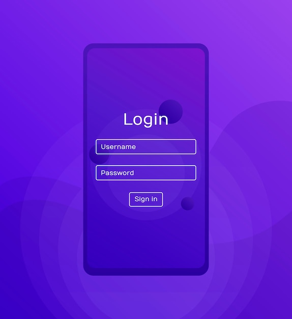 Sign in screen. clean mobile ui  . login application with password form window. trendy holographic gradients shapes. flat web icons. modern flat style illustration Premium Vector