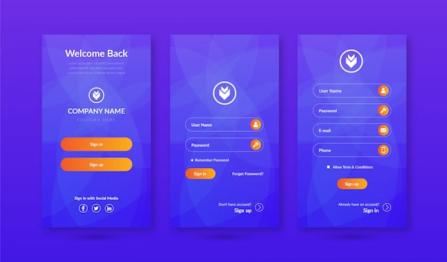 Sign in & sign up screens ui kit for mobile app template Premium Vector