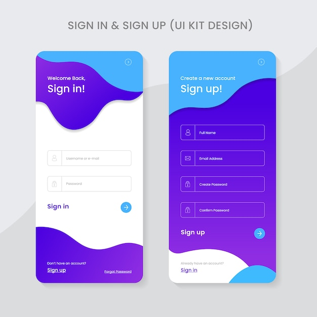 Sign in and sign up ui kit app design premium Premium Vector