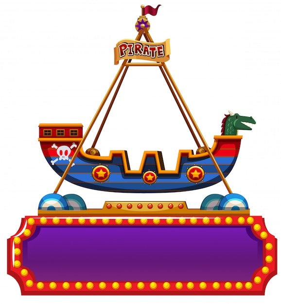 Sign template with pirate ship ride on top Free Vector