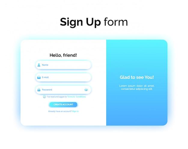 Sign up form, web design, ui ux registration interface with gradient Premium Vector
