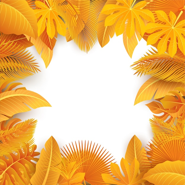Sign with text space of yellow tropical leaves Premium Vector