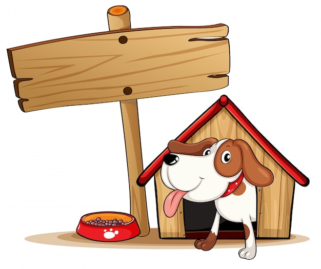A signage beside a doghouse Free Vector