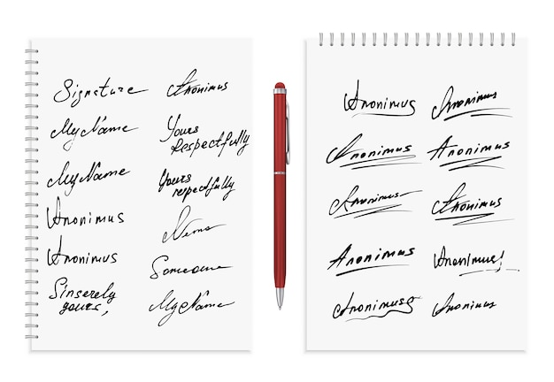 Signature collection. Premium Vector