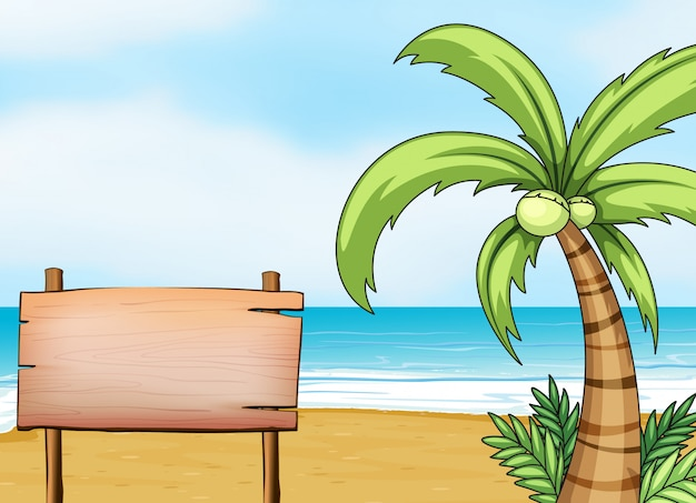 Un'insegna in riva al mare Vettore gratuito