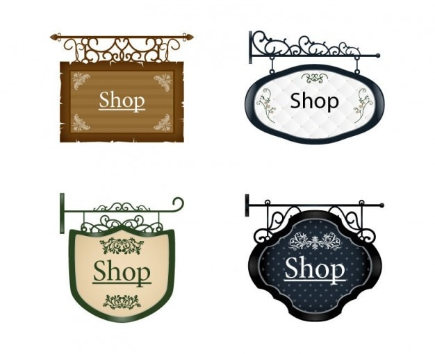 Signboards old style vectors Free Vector