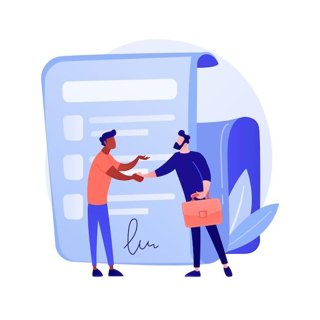 契約書に署名します。公式文書、合意、取引のコミットメント。握手するビジネスマンの漫画のキャラクター。署名の概念図との法的契約 無料ベクター