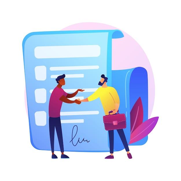 Firma del contratto. documento ufficiale, accordo, impegno di affare. personaggi dei cartoni animati di uomini d'affari che agitano le mani. contratto legale con firma. Vettore gratuito