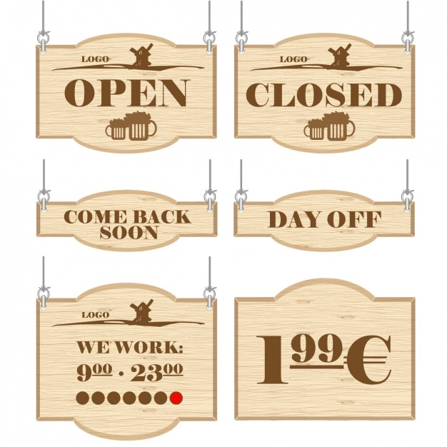 Signs for commercial establishments Free Vector