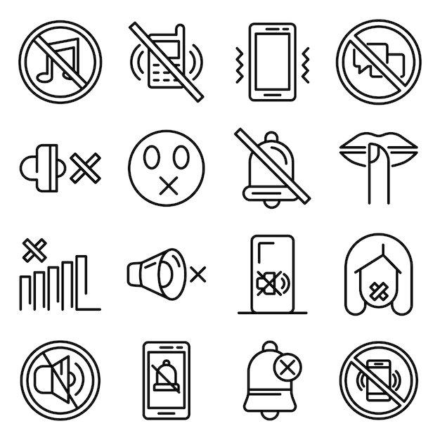Silence icons set, outline style Premium Vector