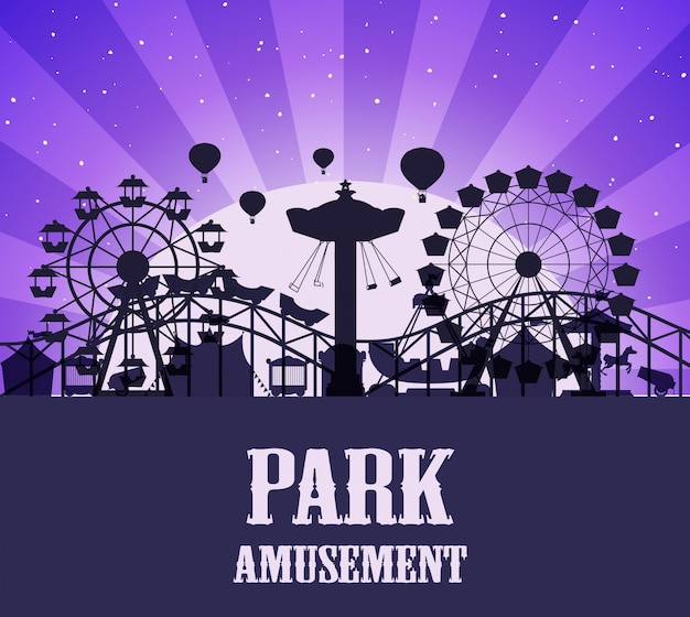 A silhouette amusement park template Free Vector
