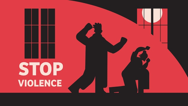 Silhouette of angry man punching and hitting woman stop domestic violence and aggression against women full length horizontal vector illustration Premium Vector