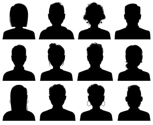 シルエットアバター。人のオフィスの専門家のプロフィール、匿名の頭。女性と男性の顔の黒い肖像画アイコン、顔のないソーシャルテンプレートセット Premiumベクター