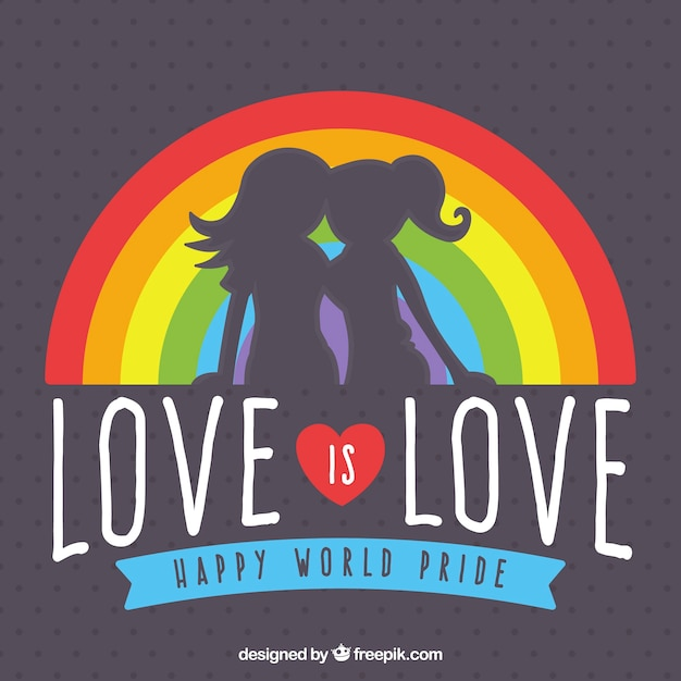 Silhouette background of girls with rainbow and message Free Vector