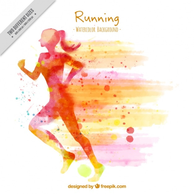 Silhouette background of watercolor woman running Free Vector