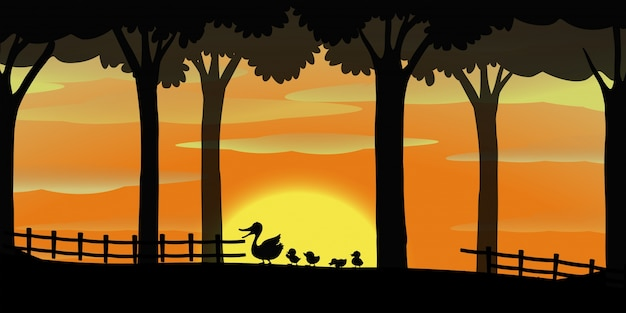 Silhouette background with ducks on the farm Free Vector