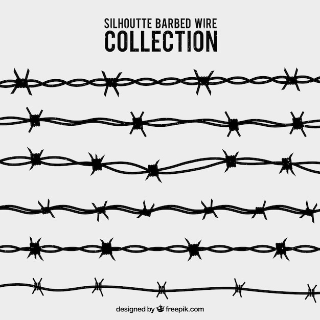 silhouette barbed wire collection vector free download rh freepik com barbed wire vector png barbed wire vector png